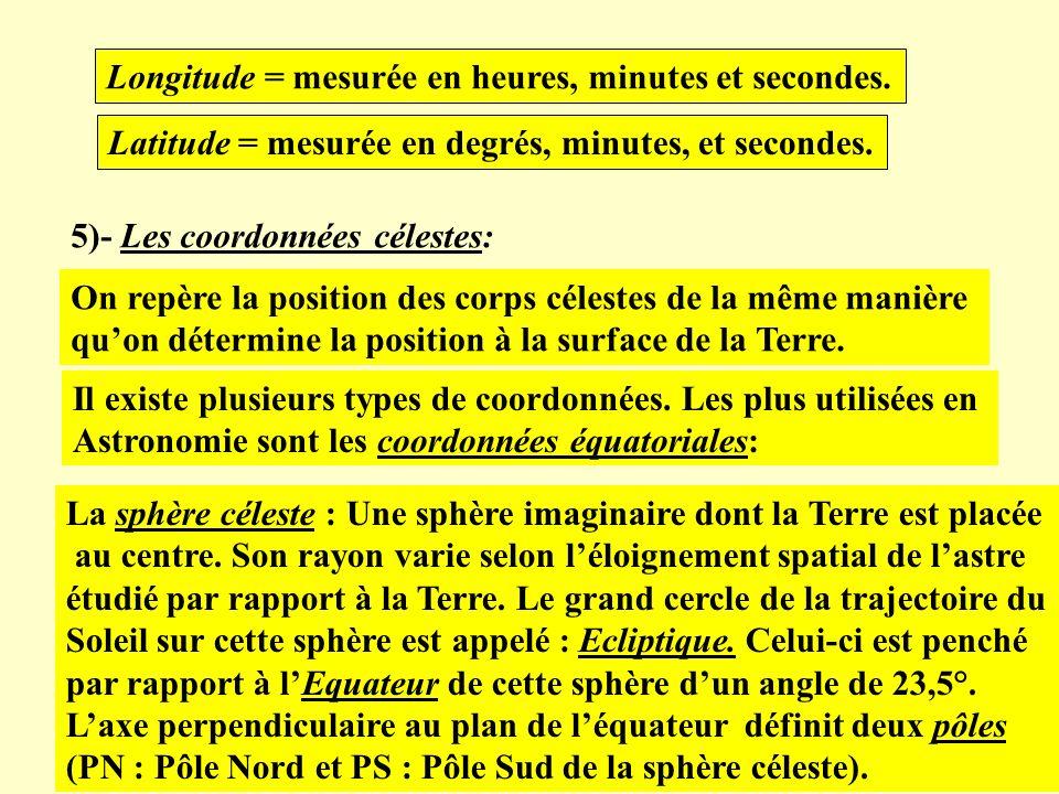 Longitude = mesurée en heures, minutes et secondes.