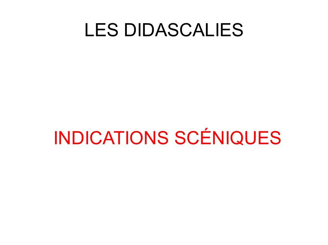 INDICATIONS SCÉNIQUES