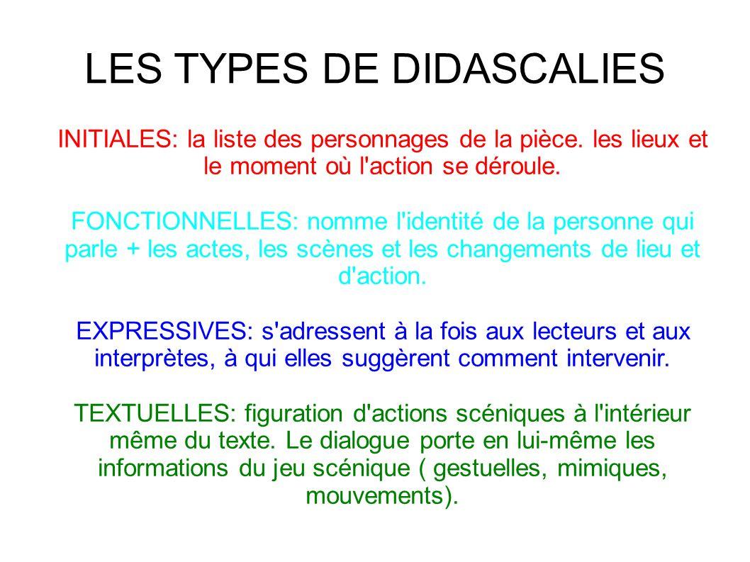 LES TYPES DE DIDASCALIES