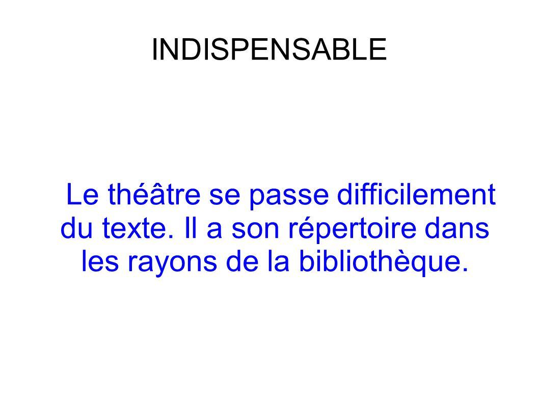 INDISPENSABLE Le théâtre se passe difficilement du texte. Il a son répertoire dans les rayons de la bibliothèque.