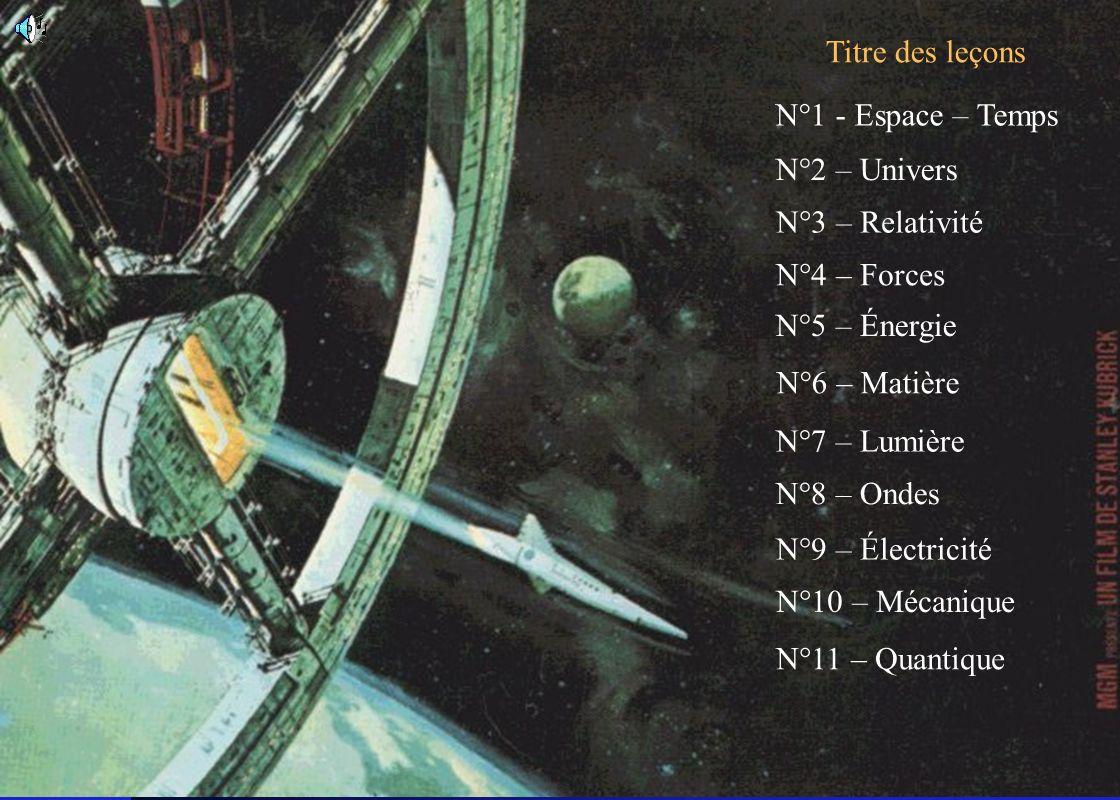 Titre des leçons N°1 - Espace – Temps. N°2 – Univers. N°3 – Relativité. N°4 – Forces. N°5 – Énergie.