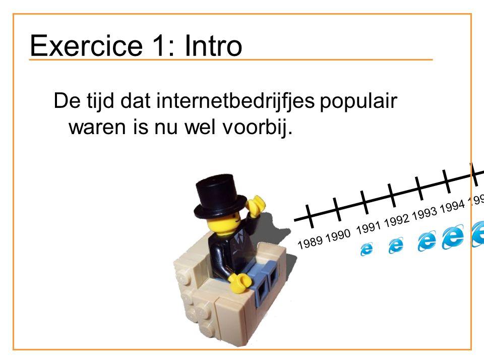 Exercice 1: Intro De tijd dat internetbedrijfjes populair waren is nu wel voorbij.