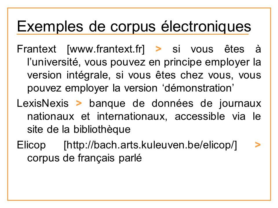 Exemples de corpus électroniques