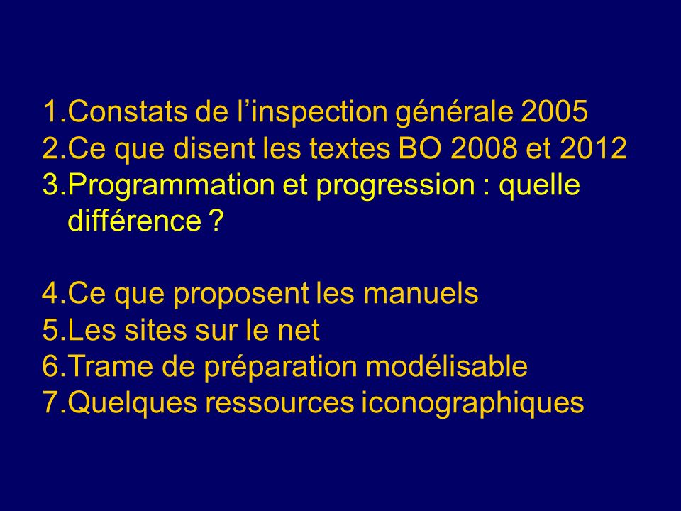 Constats de l'inspection générale 2005