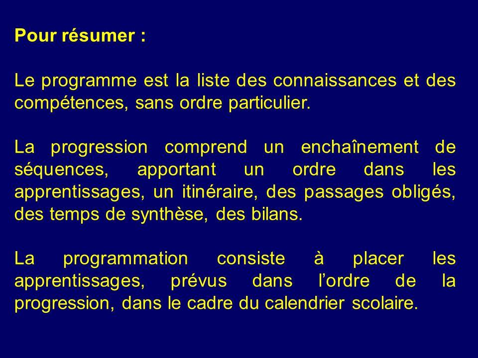 Pour résumer : Le programme est la liste des connaissances et des compétences, sans ordre particulier.