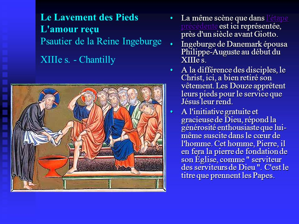 La même scène que dans l étape précédente est ici représentée, près d un siècle avant Giotto.