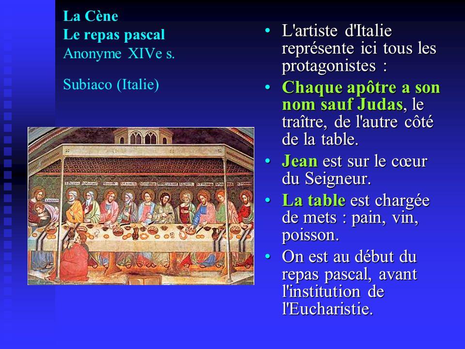 La Cène Le repas pascal Anonyme XIVe s. Subiaco (Italie)