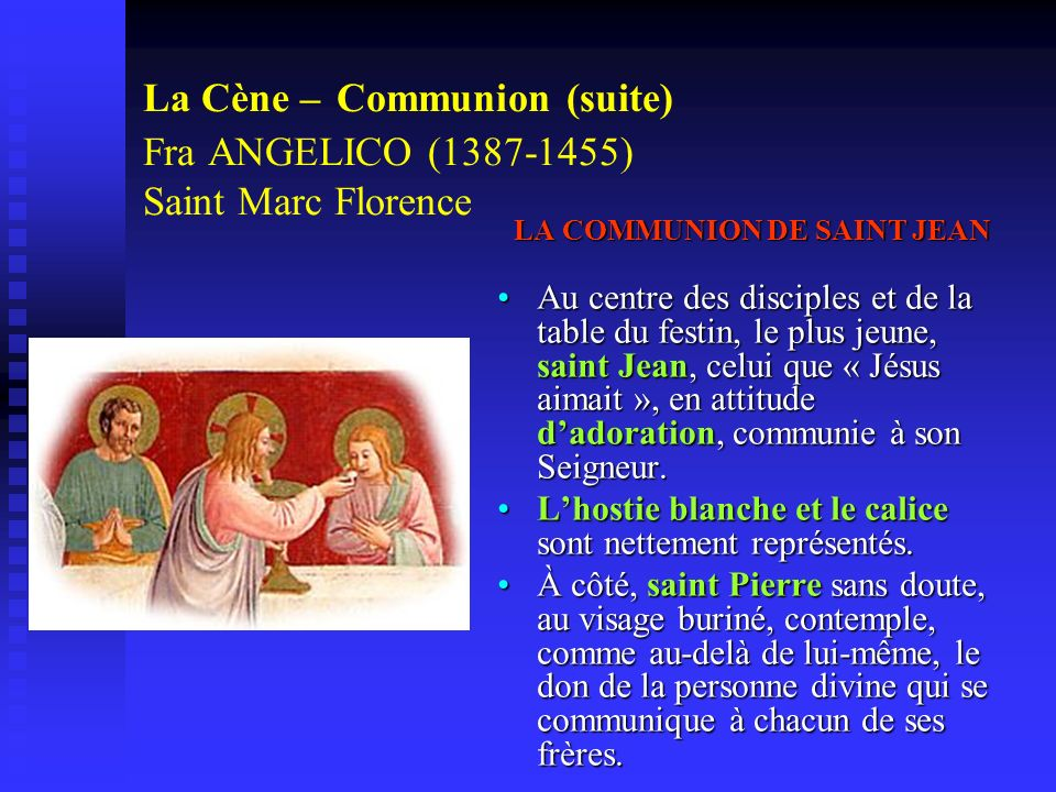 LA COMMUNION DE SAINT JEAN