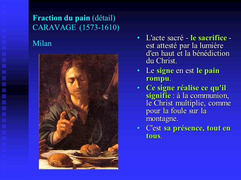 Fraction du pain (détail) CARAVAGE (1573-1610) Milan