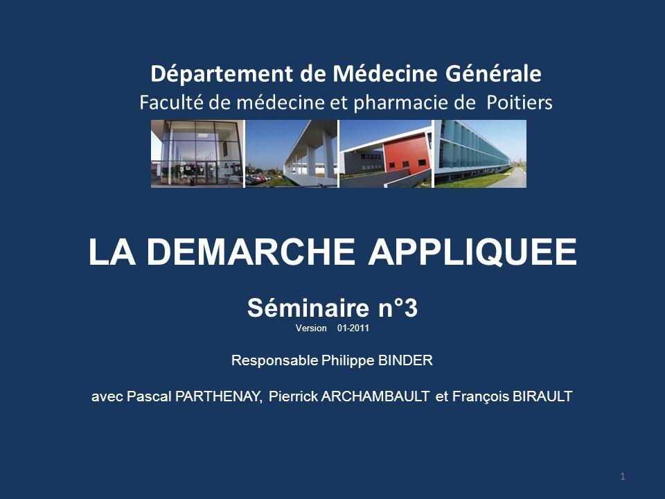 Département de Médecine Générale Faculté de médecine et pharmacie de Poitiers
