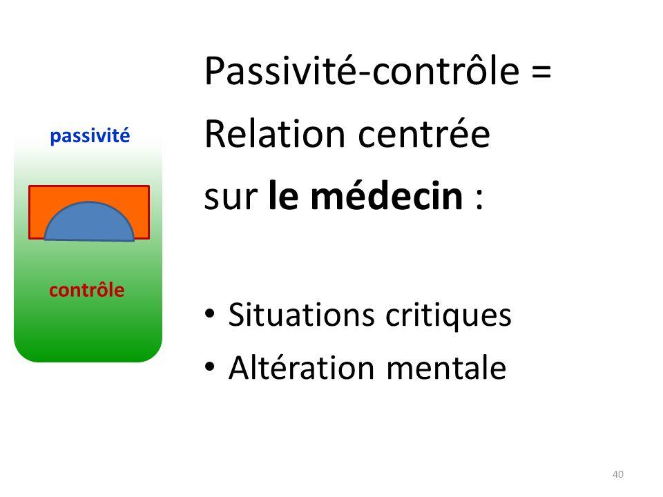 Passivité-contrôle = Relation centrée sur le médecin :