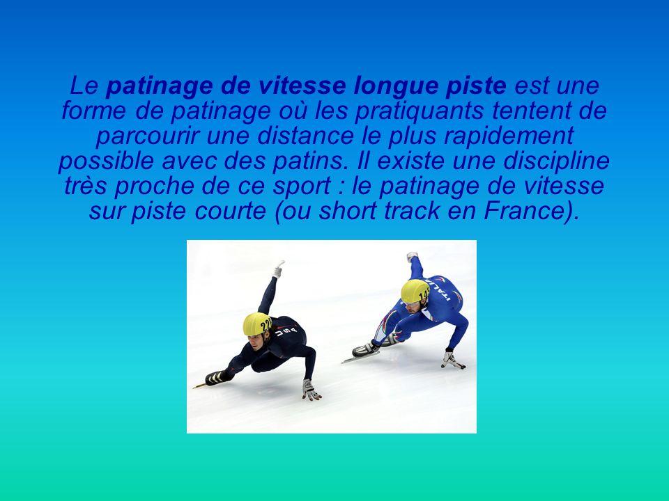 Le patinage de vitesse longue piste est une forme de patinage où les pratiquants tentent de parcourir une distance le plus rapidement possible avec des patins.