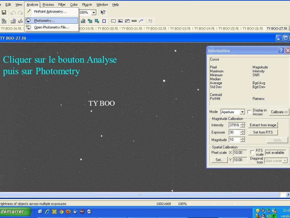 Cliquer sur le bouton Analyse puis sur Photometry