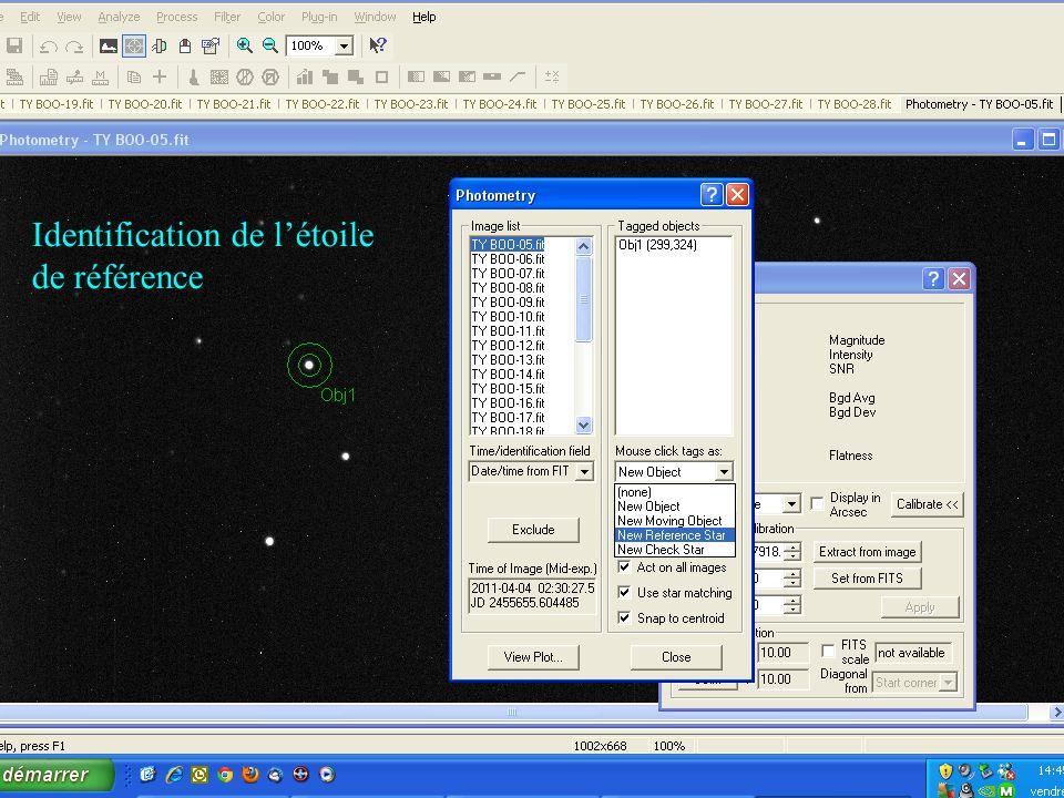 Identification de l'étoile de référence
