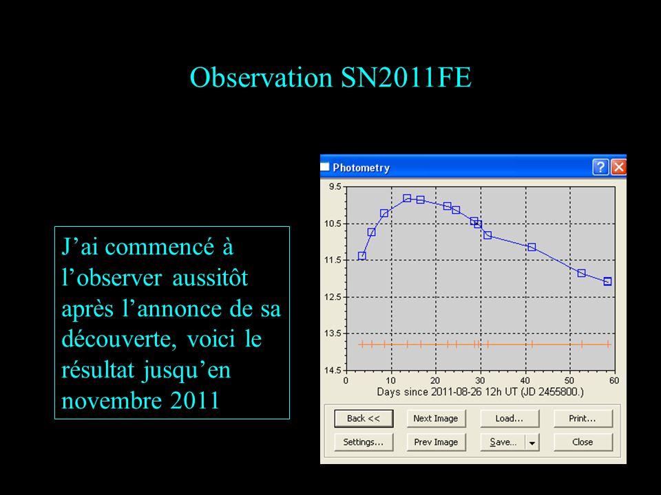 Observation SN2011FE J'ai commencé à l'observer aussitôt après l'annonce de sa découverte, voici le résultat jusqu'en novembre 2011.