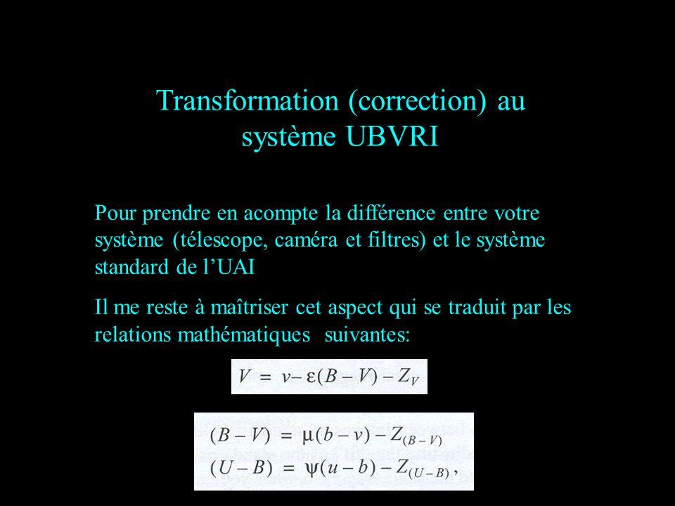 Transformation (correction) au système UBVRI