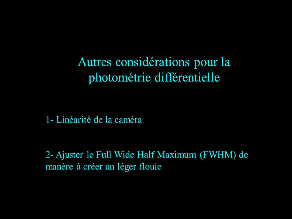 Autres considérations pour la photométrie différentielle