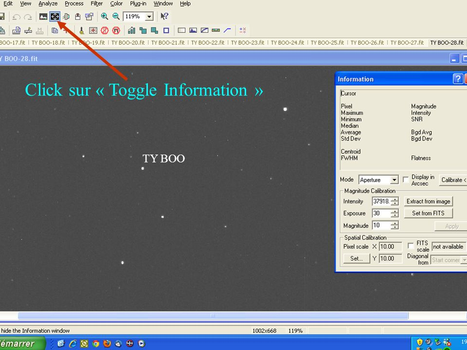 Click sur « Toggle Information »