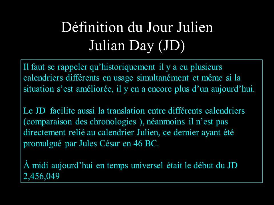 Définition du Jour Julien Julian Day (JD)