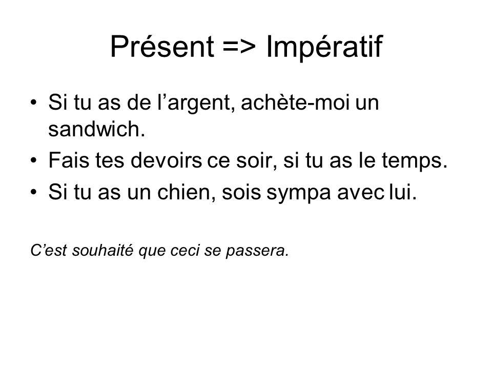 Présent => Impératif