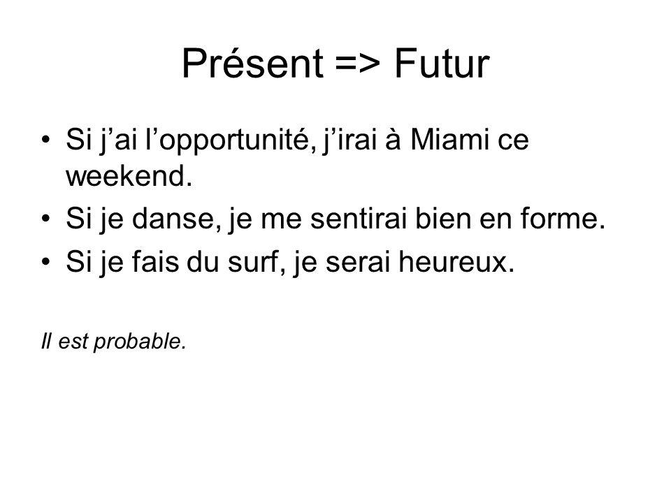 Présent => Futur Si j'ai l'opportunité, j'irai à Miami ce weekend.