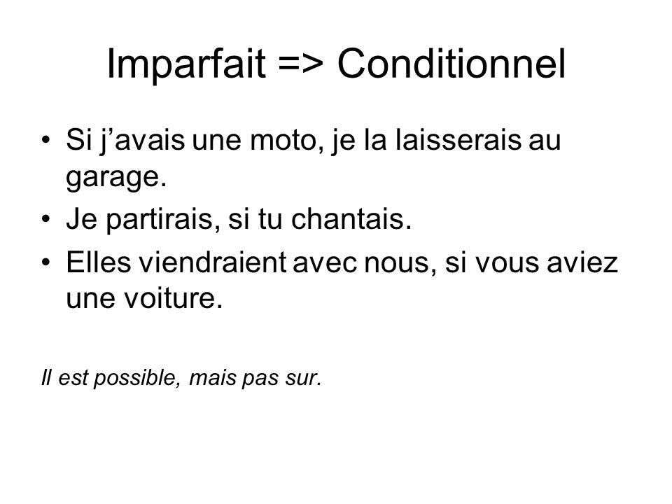 Imparfait => Conditionnel