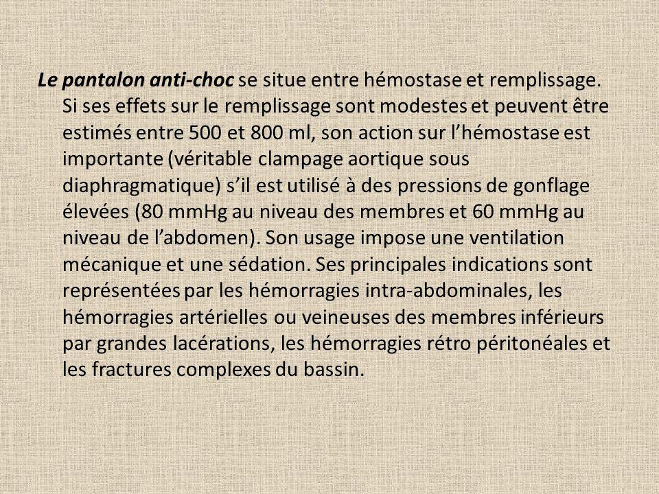 Le pantalon anti-choc se situe entre hémostase et remplissage