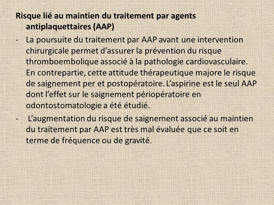 Risque lié au maintien du traitement par agents antiplaquettaires (AAP)