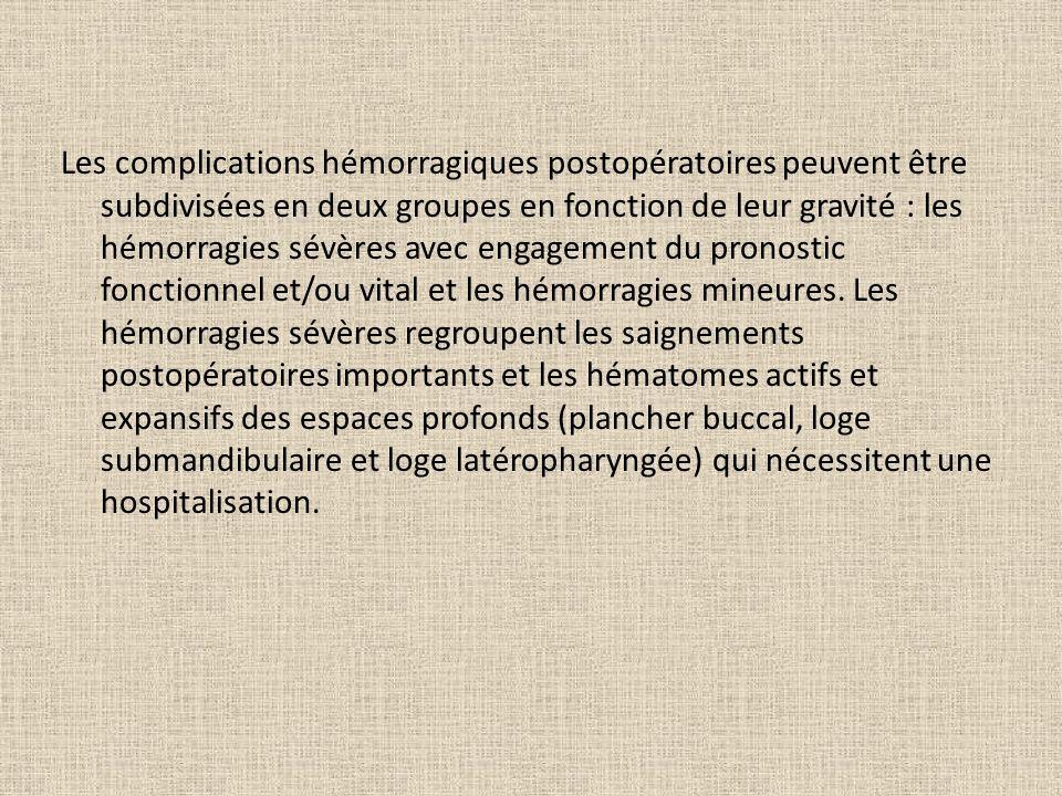 Les complications hémorragiques postopératoires peuvent être subdivisées en deux groupes en fonction de leur gravité : les hémorragies sévères avec engagement du pronostic fonctionnel et/ou vital et les hémorragies mineures.