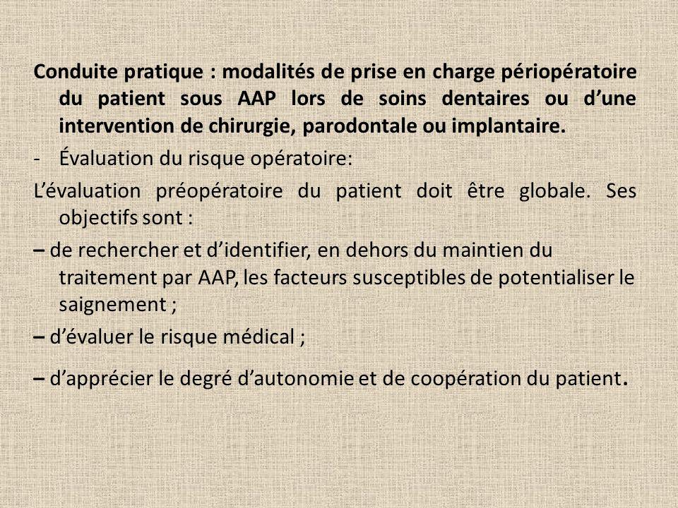 Conduite pratique : modalités de prise en charge périopératoire du patient sous AAP lors de soins dentaires ou d'une intervention de chirurgie, parodontale ou implantaire.