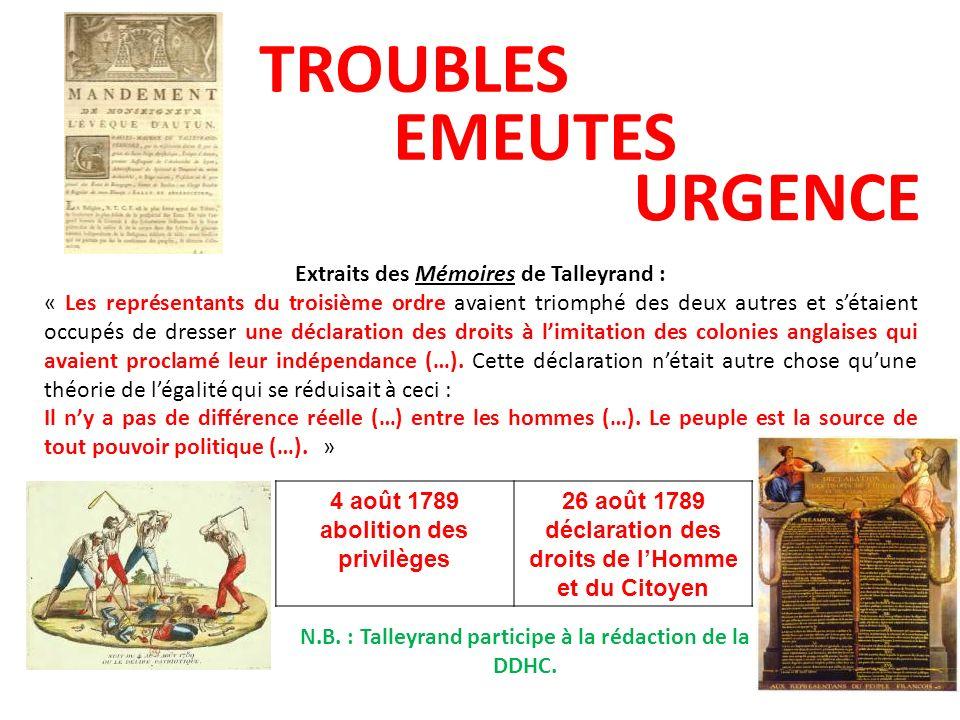 TROUBLES EMEUTES URGENCE