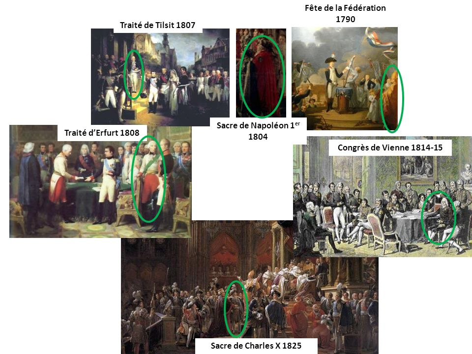 Fête de la Fédération 1790 Traité de Tilsit 1807. Sacre de Napoléon 1er 1804. Traité d'Erfurt 1808.