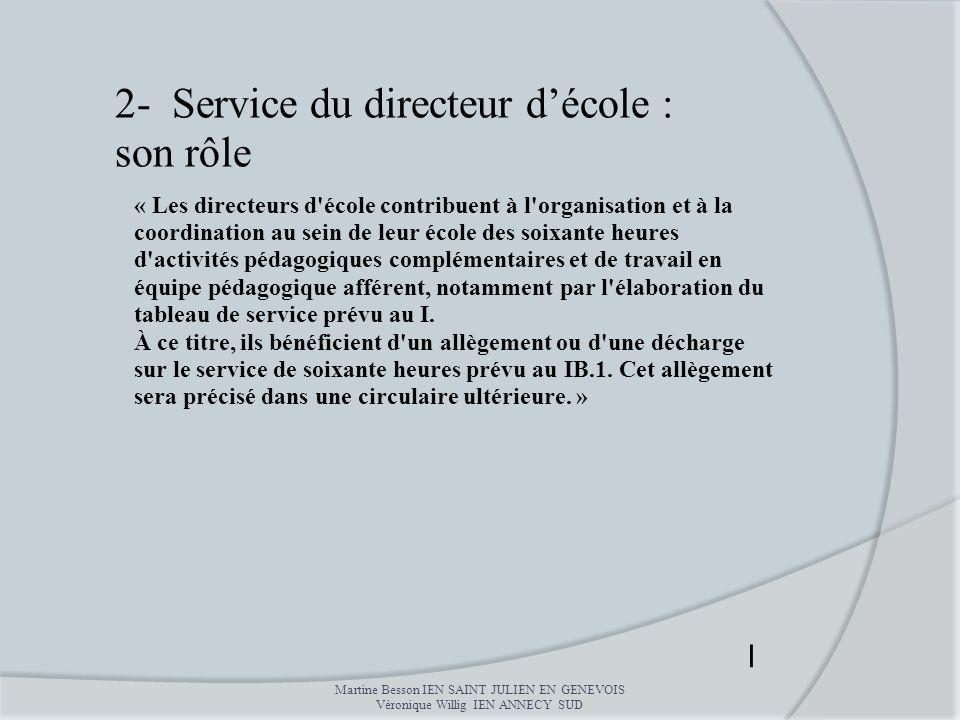 2- Service du directeur d'école : son rôle