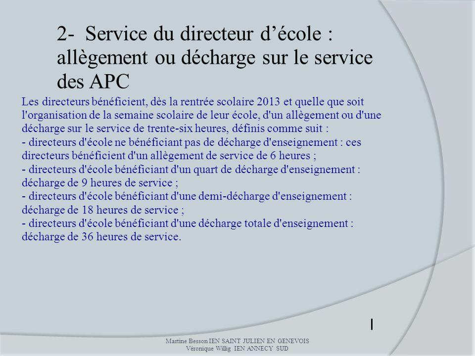 2- Service du directeur d'école : allègement ou décharge sur le service des APC