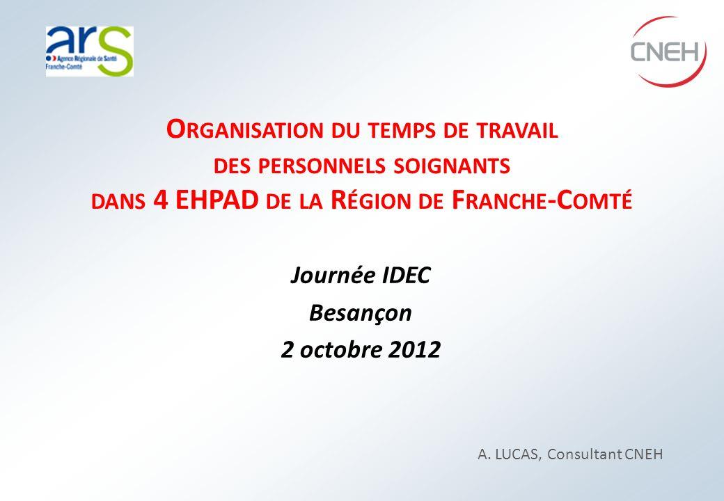 Organisation du temps de travail des personnels soignants dans 4 EHPAD de la Région de Franche-Comté