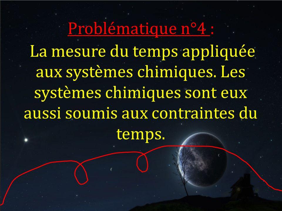 Problématique n°4 : La mesure du temps appliquée aux systèmes chimiques.