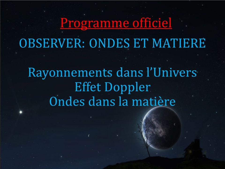 Programme officiel OBSERVER: ONDES ET MATIERE