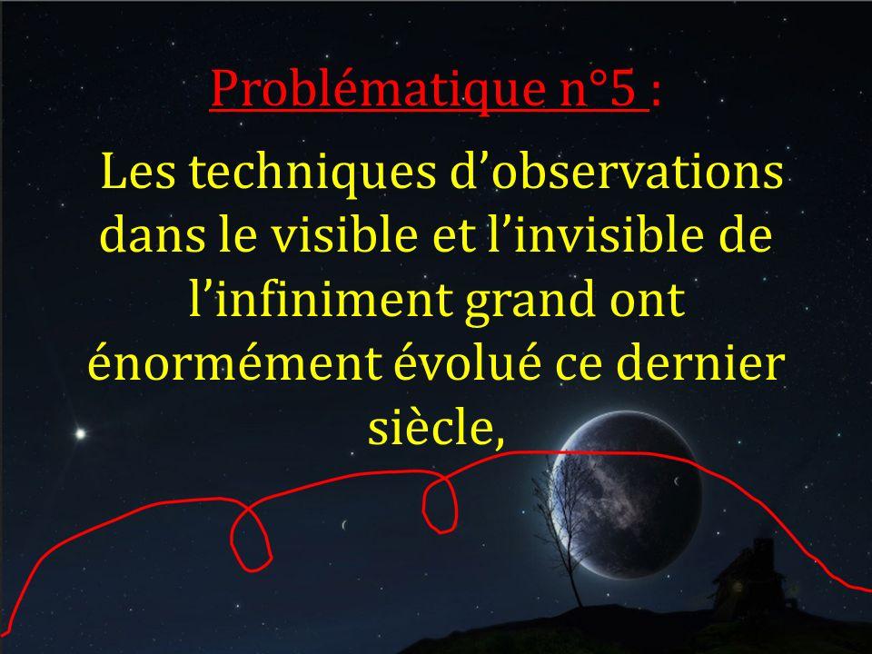 Problématique n°5 : Les techniques d'observations dans le visible et l'invisible de l'infiniment grand ont énormément évolué ce dernier siècle,