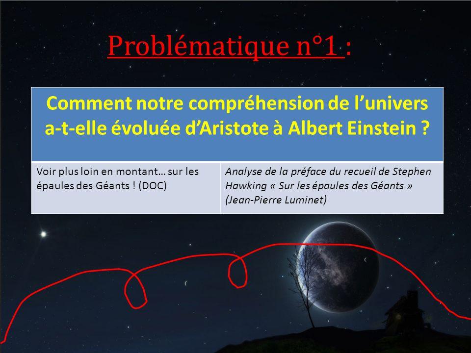 Problématique n°1 : Comment notre compréhension de l'univers a-t-elle évoluée d'Aristote à Albert Einstein