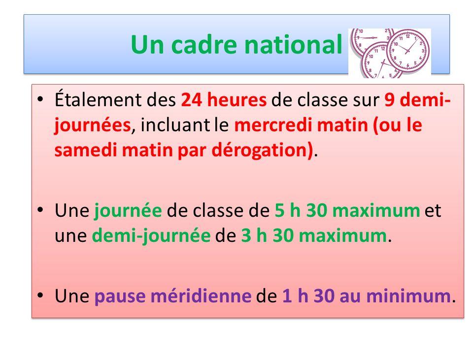 Un cadre national Étalement des 24 heures de classe sur 9 demi-journées, incluant le mercredi matin (ou le samedi matin par dérogation).