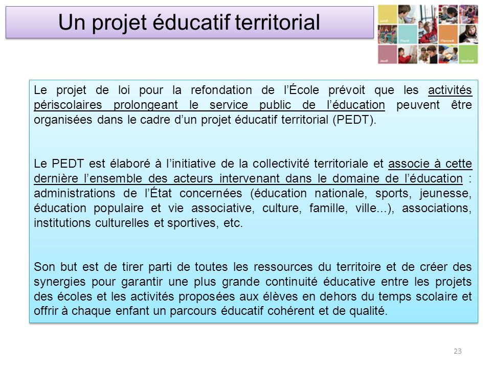 Un projet éducatif territorial