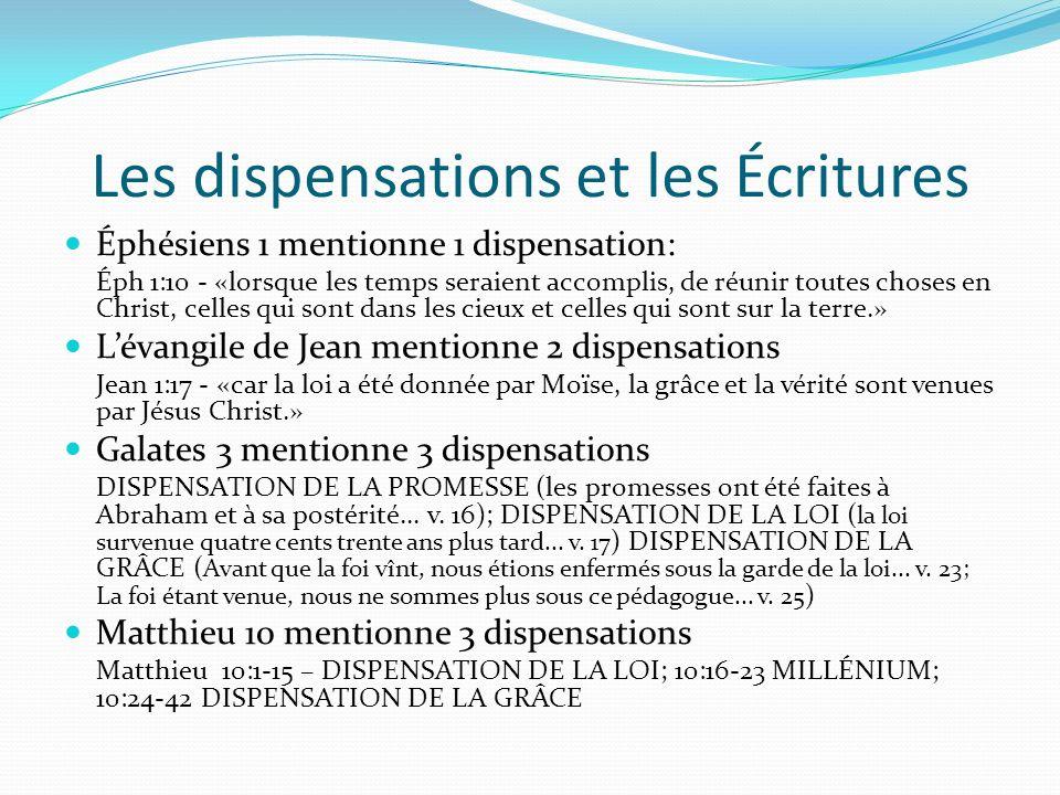 Les dispensations et les Écritures