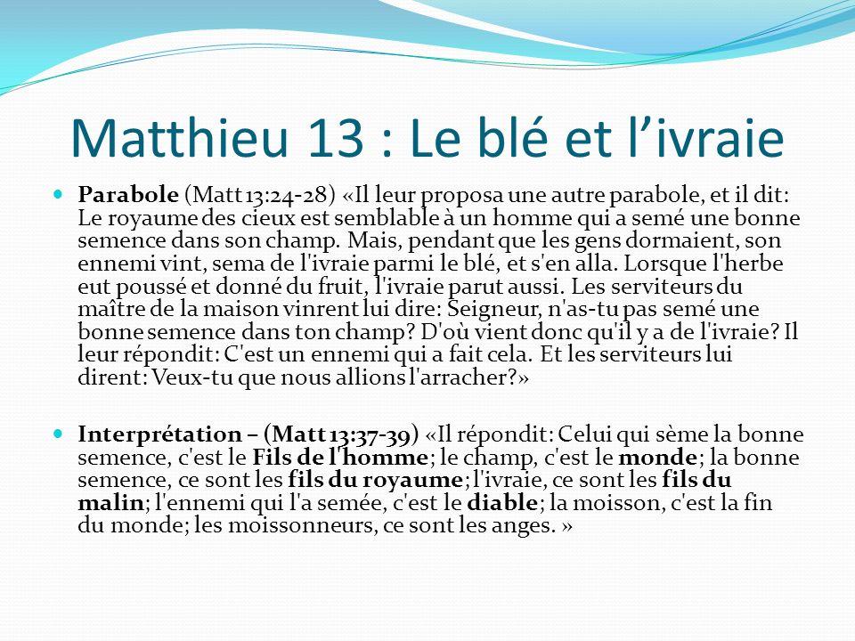 Matthieu 13 : Le blé et l'ivraie