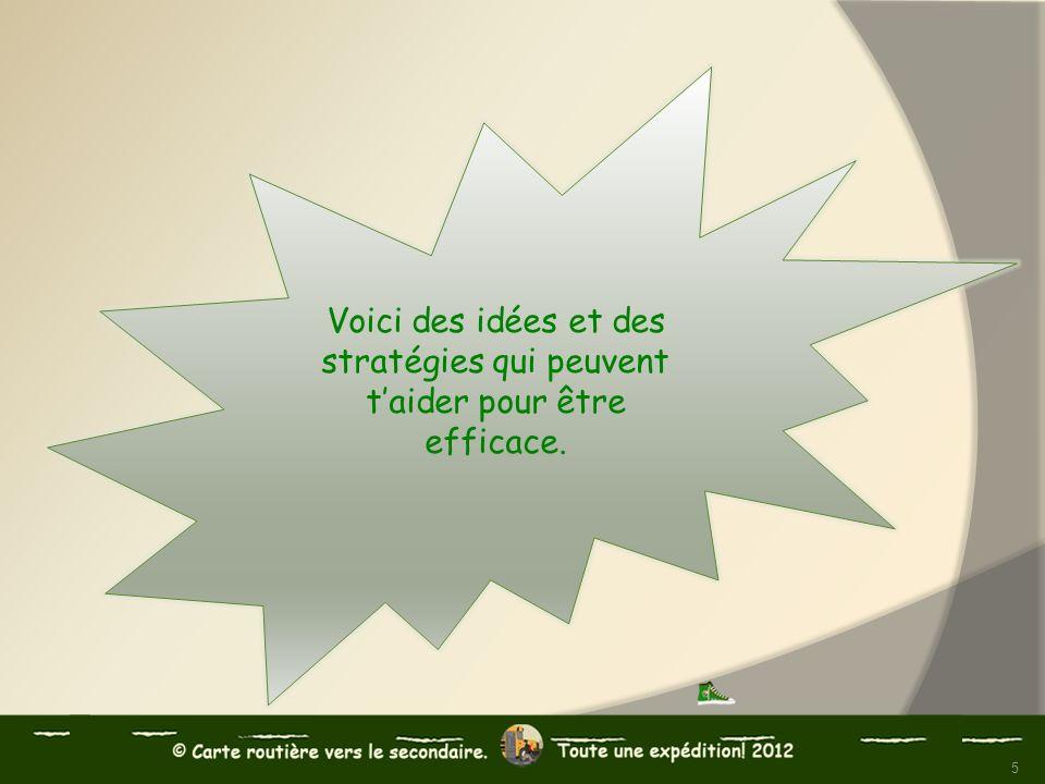 Voici des idées et des stratégies qui peuvent t'aider pour être efficace.
