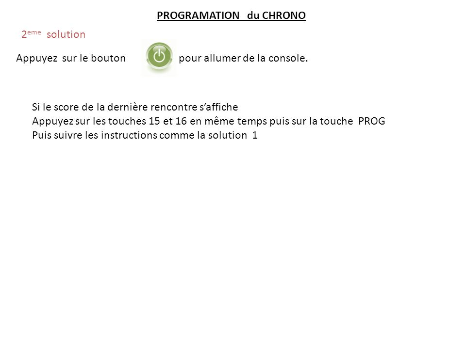 PROGRAMATION du CHRONO