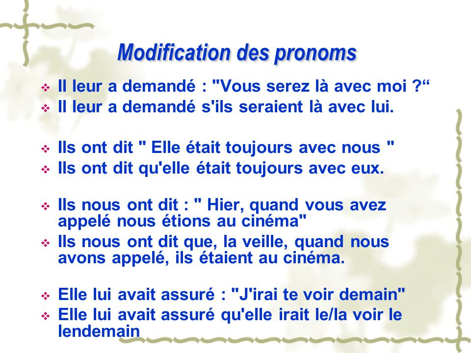 Modification des pronoms