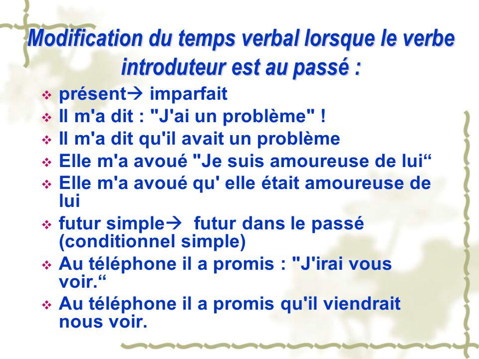 Modification du temps verbal lorsque le verbe introduteur est au passé :