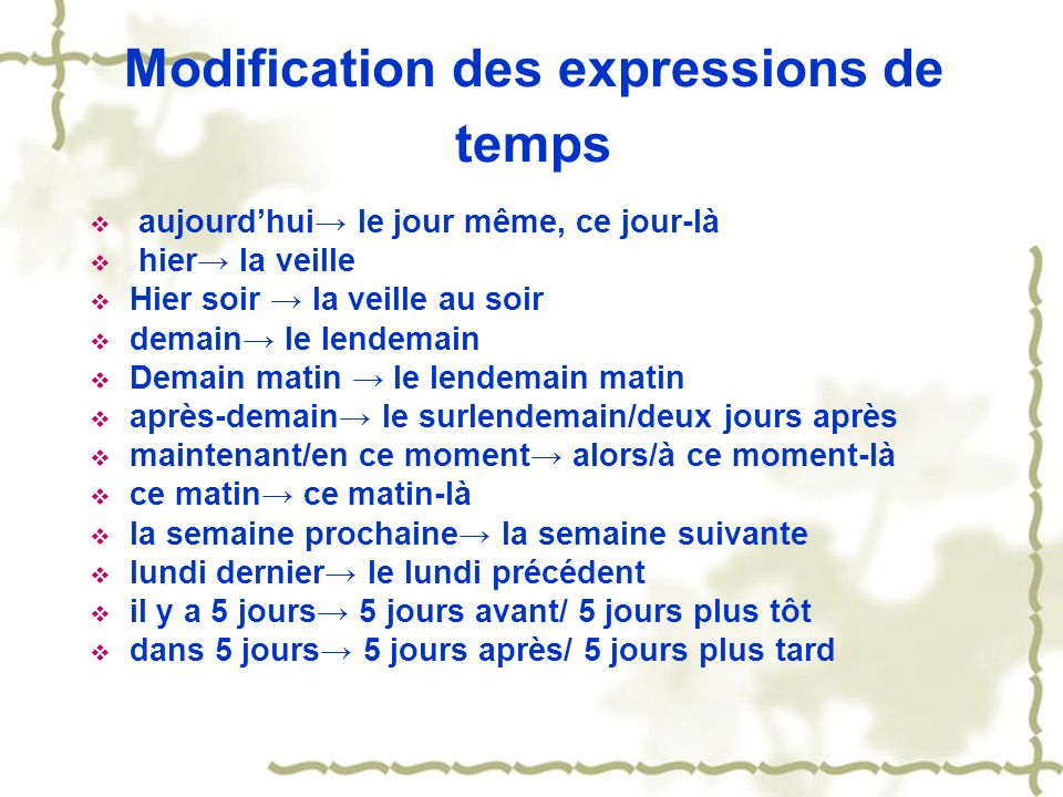 Modification des expressions de temps