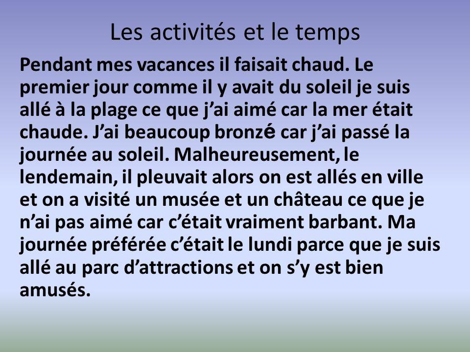 Les activités et le temps