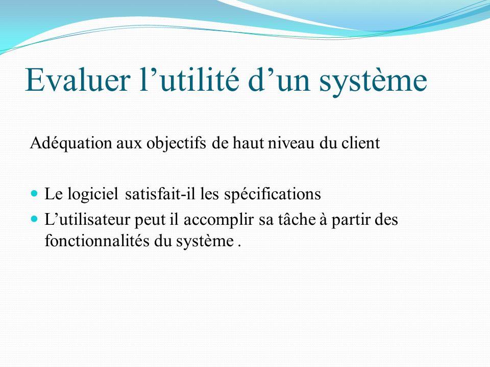 Evaluer l'utilité d'un système